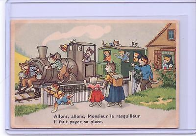 Vintage French Dressed Cats At The Railroad Station #53735 Postcard Belgium