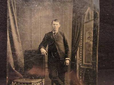 Young Man standing with crossed leg Antique Tintype Photo