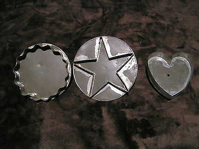 3 PRIMITIVE ANTIQUE TIN SOLDERED COOKIE CUTTER 1 HAS UNUSUAL FINISH HEART STAR