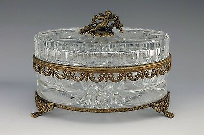 Cut Glass Crystal Large Trinket Jewelry Gilt Metal Mounted Putti