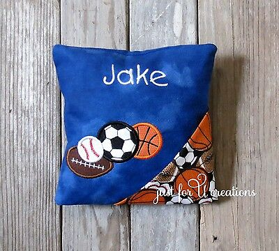 Boy's Personalized Embroidered Sports Balls Design Tooth Fairy Pillow