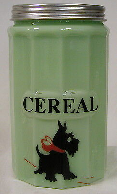 Jade Glass Large CEREAL Canister w/ Scottie Dog