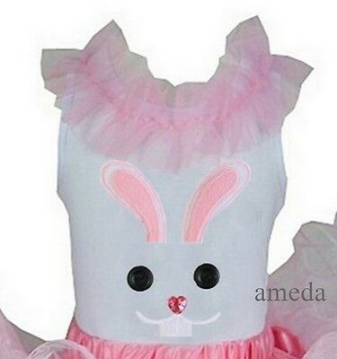 Girls Easter Buttons Bunny Light Pink Ruffled Collar White Party Tank Top 3M-10Y