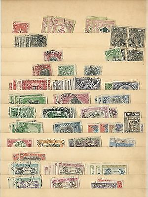 Liberia, Old Used Lot on Six Stock Pages, Many Better Values