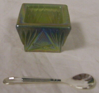 Airbrushed Yellow to Teal Carnival Glass Square Pineapple Open Salt Cellar
