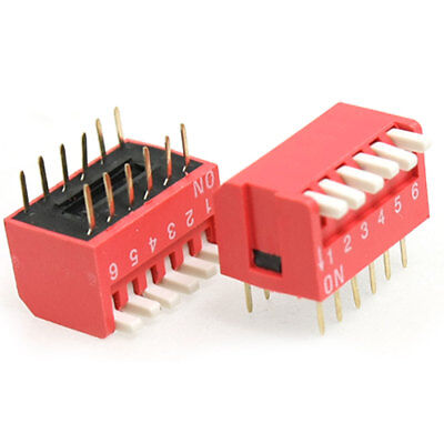 10 Pcs 2.54mm Pitch 6 Position Piano Type DIP Switch Red