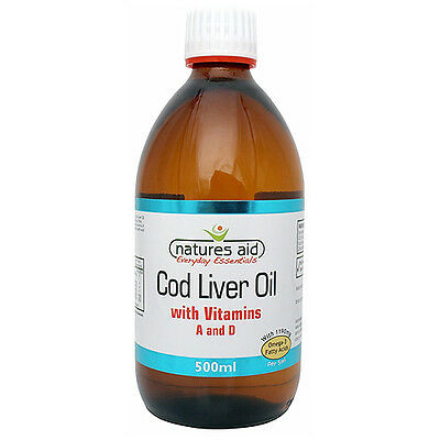 Natures Aid Cod Liver Oil - Omega 3 - 500ml Liquid