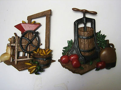 Pair 1978 Homco Cast Aluminum Kitchen Decor Wall Hangings Vintage USA