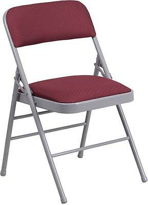 Lot Of 4 Hercules Series Burgundy Pattern Fabric Upholstered Metal Folding Chair