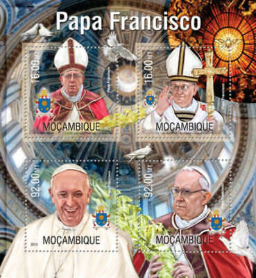 Mozambique - 2013 Pope Francis at Vatican  4 Stamp Sheet 13A-1290