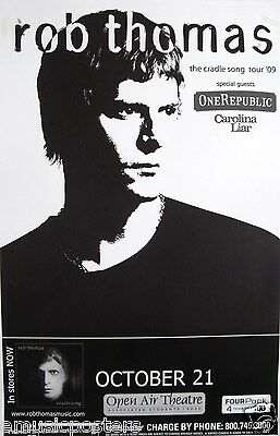 """Rob Thomas / One Republic """"the Cradle Song Tour"""" 2009 San Diego Concert Poster"""
