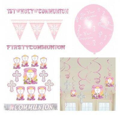 1st/FIRST COMMUNION Pink/Girl PARTY DECORATIONS {Amscan} Banner Balloons Swirls