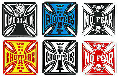 A05 sticker autocollant - CHOPPER Croix Malte - tuning moto casque petit 6,3 cm