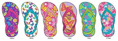 New  Wholesale Lot 72 Pairs Toddler Girls Flip Flops with Back Strap Tropical