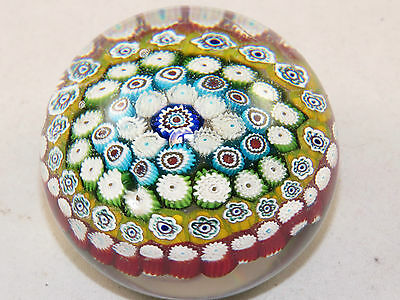 Vintage Murano Millifiori Glass Paperweight,Italy Domed Top,Smooth Ground Bottom