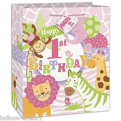 Wild Safari Pink Girl's 1st Birthday Party Medium Paper Loot Favour Gift Bag