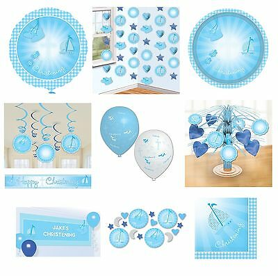 CHRISTENING BLUE BOOTIES Tableware & Decorations {Amscan}(Banner/Balloon/Swirl)