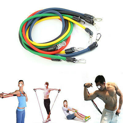 11pcs Latex Resistance Bands Exercise Tube Workout Gym Yoga Fitness Stretch ABS