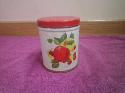 VINTAGE ROUND RED CANISTER TIN WITH APPLES AND CHERRIES