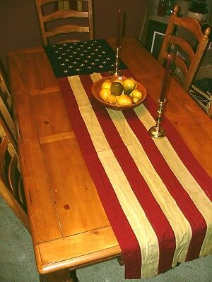 Primitive Colonial Tea Stained American Flag Runner - Americana Style (FL0-2)