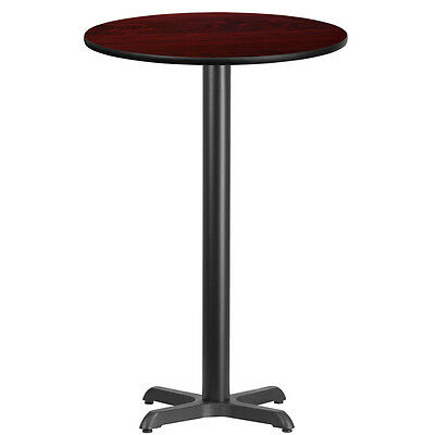 24'' Round Mahogany Laminate Table Top With 22'' X 22'' Bar Height Base