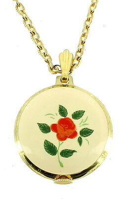 "Vintage Pretty Cream Red Green Enamel Hand Painted Watch Necklace 24"" Long"