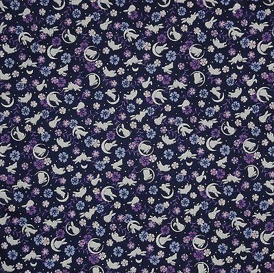 Furoshiki Japanese Fabric Navy 'Rabbits, Crescent Moons and Sakura' Cotton 50cm