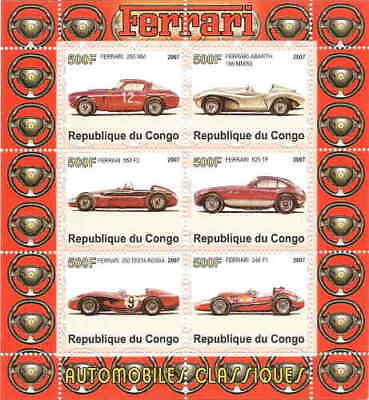 Classic Ferraris on Stamps - Mint Sheet of 6 SV0014