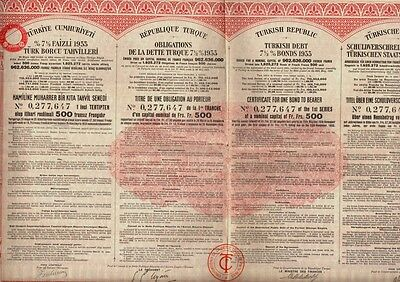 TURKEY Turkish Republic dd 1933 Government Bond uncancelled dividend coupons