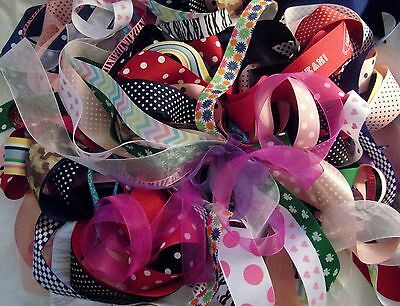 """GROSGRAIN RIBBON PRINT LOT - 35+YDS MOST 1.5""""W AND 7/8""""W - HAIR BOWS - CRAFTS"""