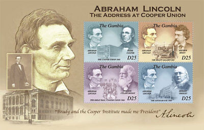 Gambia - Abraham Lincoln - 4 Stamp Mint Sheet - GAM1008