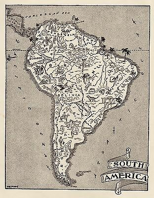 1950s Vintage SOUTH AMERICA Map Picture Map of South America Print 1105