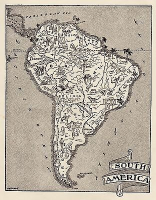 Charming SOUTH AMERICA Map  Fun and Funky 1950s Picture Map NEAT! #1105