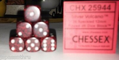 CHX 12mm SPECKLED DICE BACK IN STOCK -SILVER VOLCANO w/SILVER PIPS! SMALL SIZE!