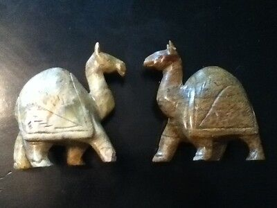 Lot of 2 Hand Made & Carved  Polystone Brown Camel Hand made in India Unique