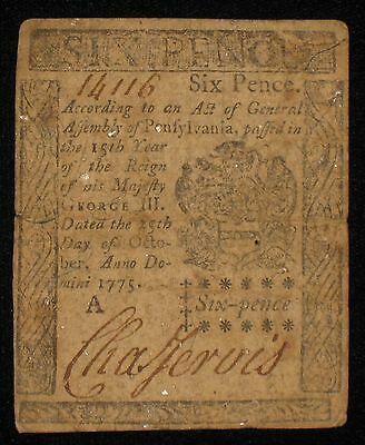 US PA Colonial Currency - 6 pence - Oct 25, 1775 ** PA-183 ** (CC-163)