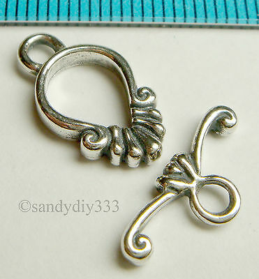 1x STERLING SILVER BALI FLOWER TOGGLE CLASP 16.7mm N442