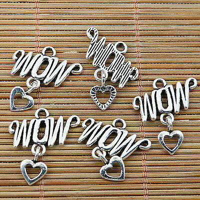 20pcs tibetan silver tone letters charm connecotr DIY making EF1795