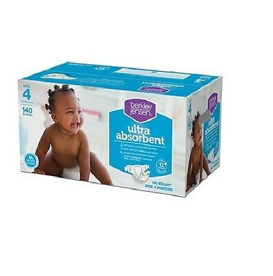 Berkley Jensen Size 4 Baby Diapers 140 Count Great for Over Night Usage - New