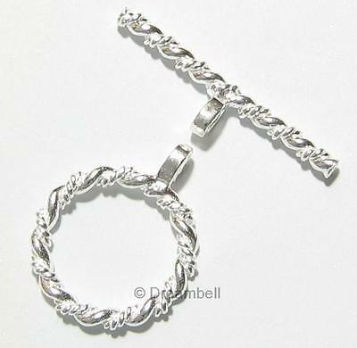 STERLING SILVER Twist Round Bead TOGGLE CLASP 12.6mm