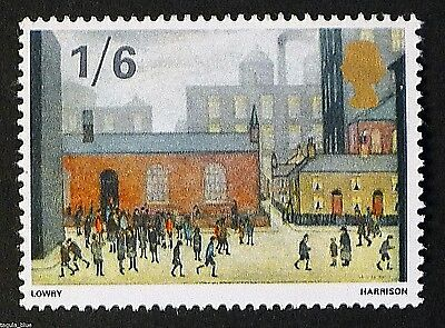 """Children Coming Out of School"" by L.S Lowry illustrated on 1967 Stamp - U/M"