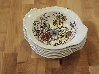 VERNONWARE VERNON KILNS MAY FLOWER DESIGN - 6 Lugged Chowder Bowls