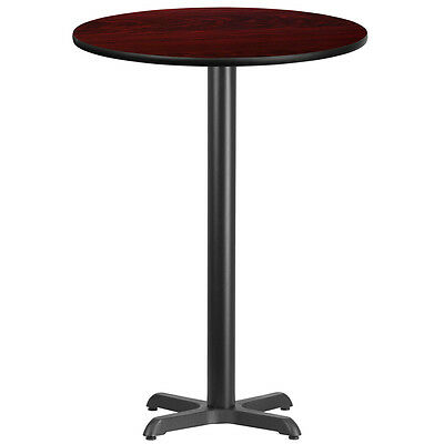 30'' Round Mahogany Laminate Table Top With 22'' X 22'' Bar Height Base