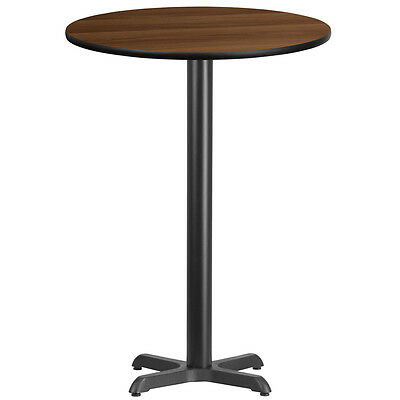 30'' Round Walnut Laminate Table Top With 22'' X 22'' Bar Height Base