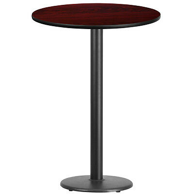 30'' Round Mahogany Laminate Table Top With 18'' Round Bar Height Base
