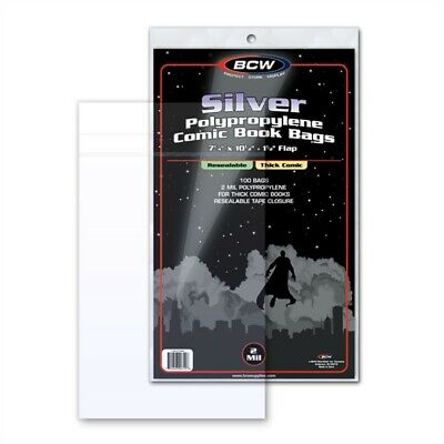 500 BCW Resealable Thick Silver Age Comic Book Poly Bags 7-1/4x10-1/2 Acid Free