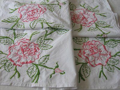 """Vintage Hand Embroidered Pink Roses Tablecloth 30"""" x 29"""" Cotton Tea Cloth"""