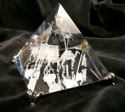 ASFOUR CRYSTAL PYRAMID EGYPT Art Glass Bedouin Merchant Camel Train NO SALES TAX