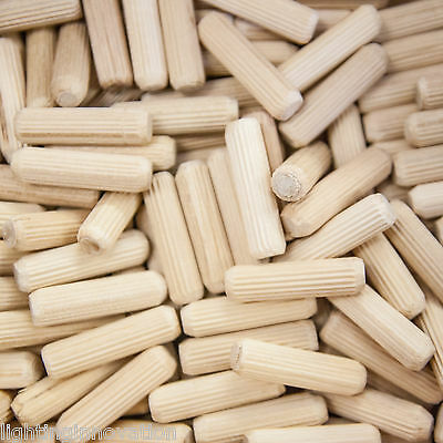 8mm x 30mm HARDWOOD DOWELS GROOVED FLUTED PIN WOODEN WOOD BEECH DOWEL CERTIFIED