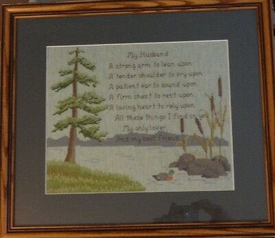 Completed Finished Cross Stitch  MY HUSBAND saying mat, glass & frame BEAUTIFUL!